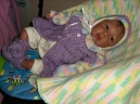 All dressed up in a lavendar sweater set I made.